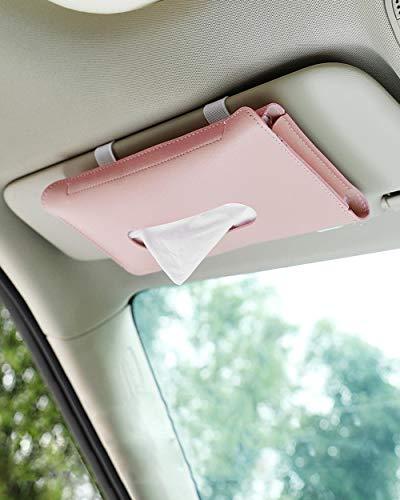 Car Tissue Holder, Car Sun Visor Tissues Holder, Visor Napkin Holder, Leather Hanging Tissue Box Tissue Holder for Auto(Pink)