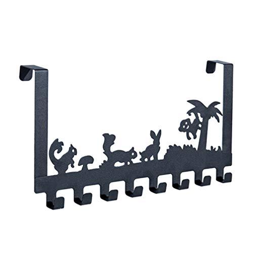 Cabilock Sobre El Gancho de La Puerta Granja Animal Montado en La Pared Fila 8 Ganchos Gancho de Almacenamiento sin Perforar Colgador para Ropa Bolsa Toalla Llave Artículos Pequeños