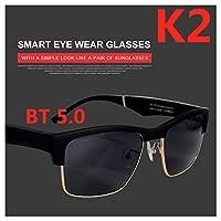 骨伝導メガネ、インテリジェントワイヤレスのBluetoothサングラス、偏光サングラス防水ステレオ音楽,黒