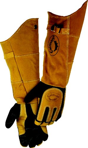 CAIMAN 1878-5 Glove, Welding, 21 In L, Blk and Gold, L, Pr
