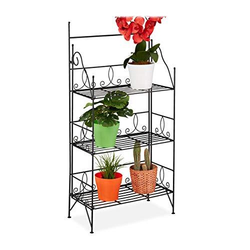 Relaxdays Blumenregal, 3 Ebenen, klappbar, Indoor & Outdoor, Metall, Vintage Pflanzenregal, HBT 100x50x25 cm, schwarz, 1 Stück
