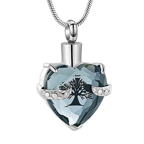 LLSJF Collar De Cenizas Colgante De Cremación Recuerdo Collar Caja De Urna En Forma De Corazón Soporte De Ceniza De Acero Inoxidable Colgante Lady Souvenir