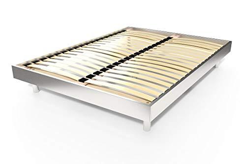 ABC MEUBLES - Lattenrost Kit Noé Holz - 2 Plätze - NOE2 - Grau Aluminium, 140x190
