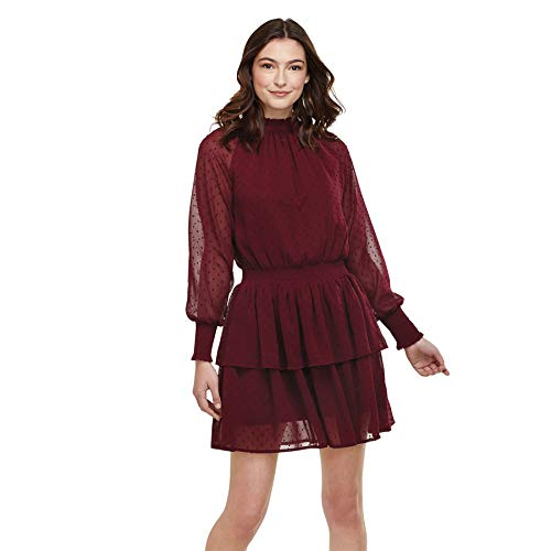 Mud Pie Women's Long Sleeve Dress, Burgundy, Large