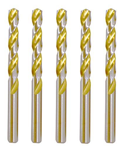 Max-Craft 5 Pcs Pack 15/32' HSS Jobber Length Twist Drill Bits, Fullly Ground, Golden Flute, General Purpose 135 Deg. Split Point Jobber Drill Bits Drilling Steel, Metal, Copper, Aluminum, Iron