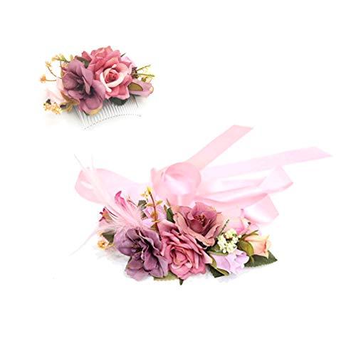 Ever Fairy moda flor cinturones de flores Conjunto de peine de pelo para mujer niña dama de honor vestido de satén cinturón boda fajas cinturón de la pluma tela elástica cinturón accesorios (D)