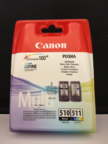 Canon 2970B010 - PG-510/CL-511 Multi Pack Tintenpatrone Original Schwarz, Cyan, Magenta, Gelb Mehrfachverpackung 2 Stück(e) (PG-510 / CL-511 Multi Pack)