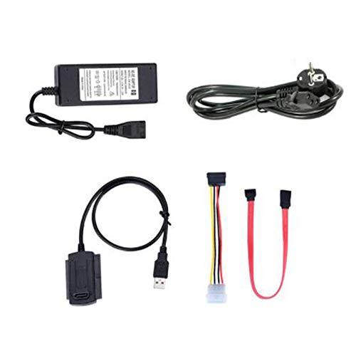 Iycorish Unidad SATA Pata IDE a USB 2.0 Cable Convertidor para Disco Duro HDD 2.5 Pulgadas 3.5 Pulgadas con Adaptador de Corriente CA, Enchufe de la UE