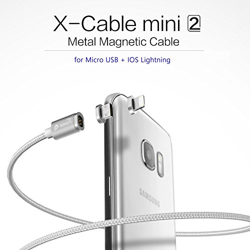 DolDer WSKEN 2 in 1 Magnet USB und Lightning Ladekabel mit 1xMicro USB Adapter Port + 1xLightning Adapter Port - Silber