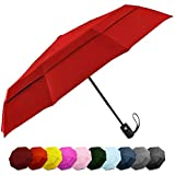 Windproof Travel Umbrella - Compact, Double Vented Folding Umbrella w/Automatic Open & Close Button - Portable, Lightweight Outdoor & Golf Rain Umbrellas w/UV Protection, Red