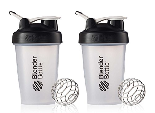 BlenderBottle Classic Loop Top Shaker Cup, 20-Ounce, Black/Clear, Pack of 2