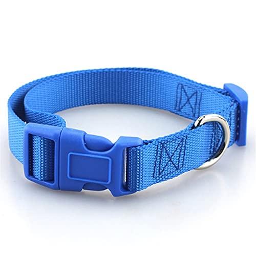 TRSX Cuello de Perro Correa para Perros Cuello de Perro de Nylon sólido clásico con Hebilla rápida (Color : Blue, Size : Small)