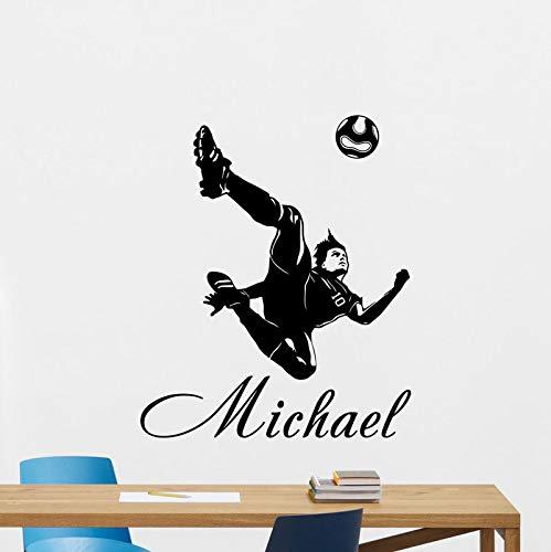Hllhpc Wandlamp, personaliseerbaar, voetballers, vinyl, voor jongens, kinderen, tienerkamer, decoratie, thuis, behang, muurkunst, 42 x 50 cm