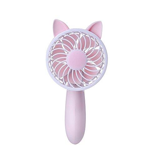 Trada USB Handventilator Wiederaufladbarer, Tragbarer Niedlich Mobiler Ventilator USB Leise Mini Elektrische Lüfter Tischventilator 3-Gang Wind Einstellbar Hand Lüfter Mini Fan (Rosa)