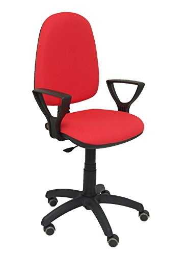 Piqueras y Crespo 04CP - Silla de Oficina ergonómica con Mecanismo de Contacto Permanente, Regulable en Altura y Ruedas de parquet, Color Rojo