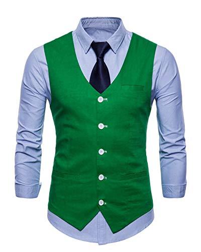 Hombre Un Solo Pecho Chaleco Slim Fit Traje De Vestir Sin Manga Casual V-Neck Blazers Pasto Verde L
