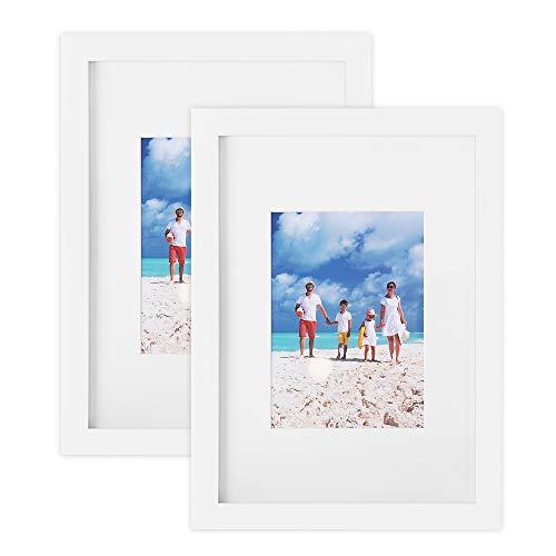 SONGMICS Bilderrahmen 2er Set, Glasscheibe, Din A4 (21 x 29,7 cm), mit Papier-Passepartout 13 x 18 cm, Rahmenbreite 2cm, MDF Weiß RPF04WT