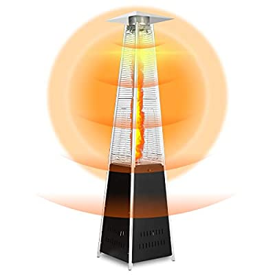 Pyramid Patio Heater 48000 BTU Quartz Glass Tube Outdoor Heater Liquid Gas Propane Heater Adjustable Thermostat Party Restaurant Floorstanding Stove Heater with Wheels Not Including Hose and Regulator