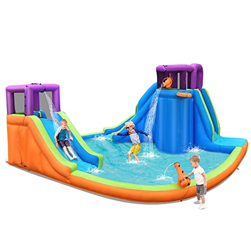 COSTWAY Inflatable Bouncy Castle, Kids Bouncer Jumping Water Park with Double Slides, Water Gun and Basketball Hoop