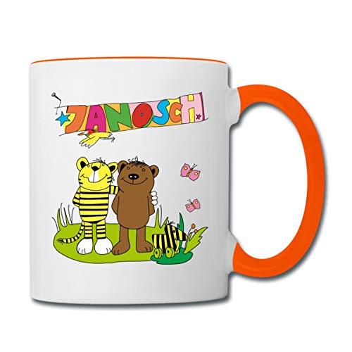 Janosch Tiger und Bär Freundschaft Tasse zweifarbig, Weiß/Orange