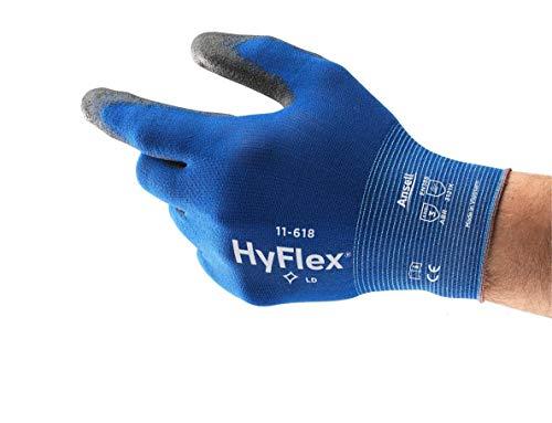 Ansell HyFlex 11-618 Arbeitshandschuhe aus Nylon, Extrem Dünn, Vielseitig Einsetzbarer Mechanikschutz-Handschuh, Blau/Schwarz, Größe 11 (12 Paar)
