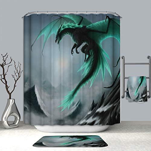 Chickwin Duschvorhang Anti-Schimmel und Wasserdicht, 100prozent Polyester 3D Stielvoller Digitaldruck Drache mit 12 Duschvorhangringe für Badezimmer (180x200cm,Grüner Drache)