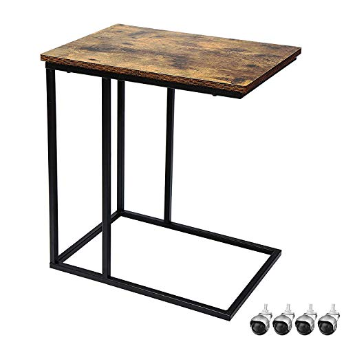 Yusong Side Table,C Shaped Mobile End Table with Stable Metal Frame...