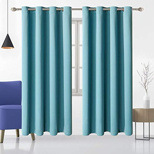 """Teal Blackout Curtains for Bedroom 72 inch Long Soundproof Thermal Insulated Curtains Living Room Window Curtains 2 Panels Set Top Grommet Drapes for Light Blocking W 52"""" × L 72"""""""