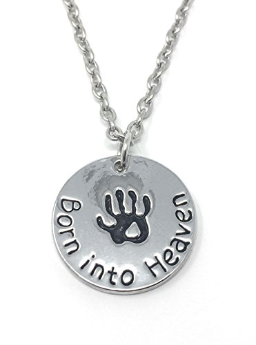 Silver-Tone 'Born Into Heaven' Engraved Pendant Necklace 2.0cm Diameter with 18 Inch Chain Handprint Baby Loss of Child Son Daughter