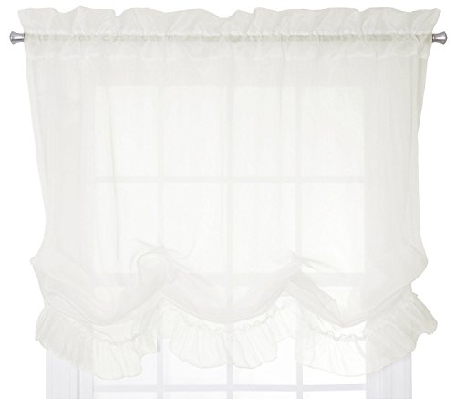 Ellis Curtain Jessica Sheer Ruffled Balloon Shade, 60 by 63-Inch, Ivory