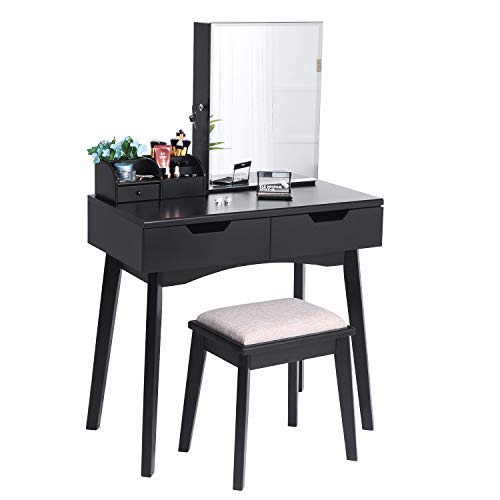 BEWISHOME Makeup Vanity Table Set, Lockable Jewelry Storage Cabinet with Mirror Desk, Makeup Organizer, Cushioned Stool, 2 Sliding Drawers Vanity Desk Dressing Table Black FST04H