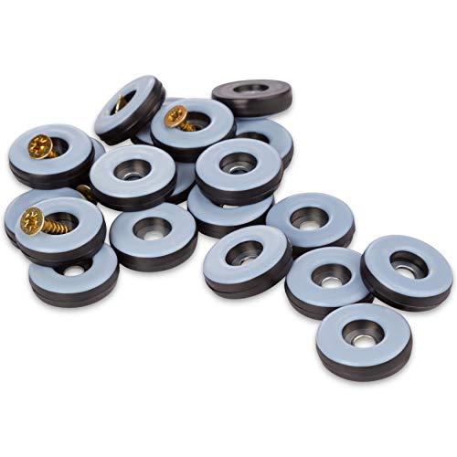 Filzada® 20x Teflongleiter zum Schrauben - Ø 25 mm (rund) - Möbelgleiter/Teppichgleiter PTFE (Teflon) inkl. Schrauben