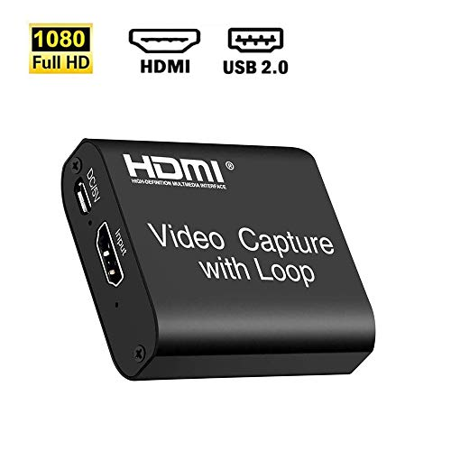 HDMI Capture Card USB2.0, TOKANI1080p Audio Video Game Capture Converter with Loopout Support 4K Input 1080p Output for PS3 PS4 Xbox Wuli Live OBS Stream and Recorder