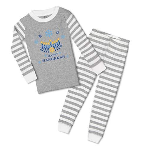 Custom Boy & Girl Kids Pajamas Pjs Happy Hanukkah Jewish A Cotton Children Sleepwear Pajama Set Stripes Grey Design Only 6 Months