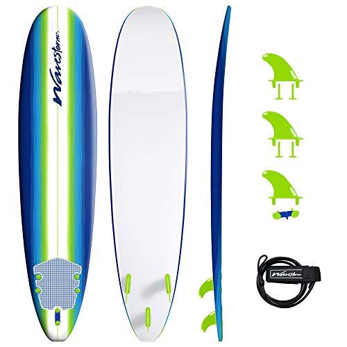 Wavestorm 8ft Classic Longboard Surfboard (Blue...