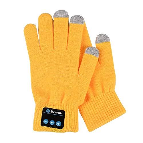 Comfortabele Outdoor Handschoenen Bluetooth Handschoenen Vrouwen Mannen Unisex Winter Knit Warm Wanten Call Talking &Touch Screen Handschoenen Mobiele Telefoon Pad Eén maat Geel