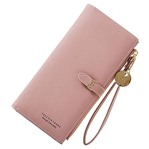 Coopay Damen Geldbörse,Hochwertig Weich Kunstleder,Groß Kapazität Portemonnaie,Geldbeutel mit Reißverschluss Handschlaufe,Frauen Tasche Handy für Sony Xperia XA1 Plus XZ1 XA2 Z2 Compact L1 L2 - Rosa