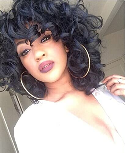 ELIM Short Curly Kinky Wigs for Black Women Fluffy Wavy Black Synthetic Hair Wig Natural Looking Wigs Heat Resistant Wigs with Wig Cap 250g Z014