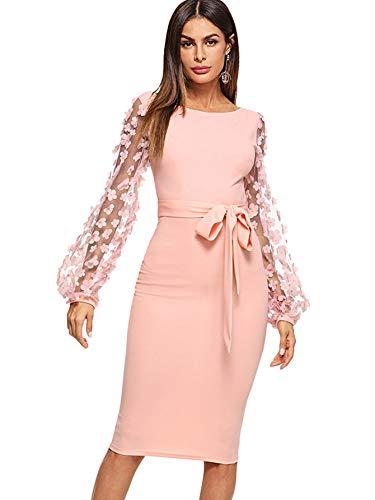 DIDK Damen Netz Figurbetontes Kleid Schlauch Kleider mit Knoten Gürtel Stickerei Blumen Applikation Bishop Knielang Bleistift Einfarbig Party, L, Pink U-Boot Ausschnitt