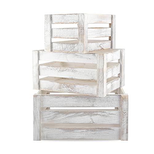 korb für geschenkeAufbewahrungsbox aus Holz (3 Stk), Holz Deko Aufbewahrungskiste Stapelbar Korb als Obstkiste für Flaschen Weinkisten Makeup Haushaltsartikel Geschenke (Weiß)