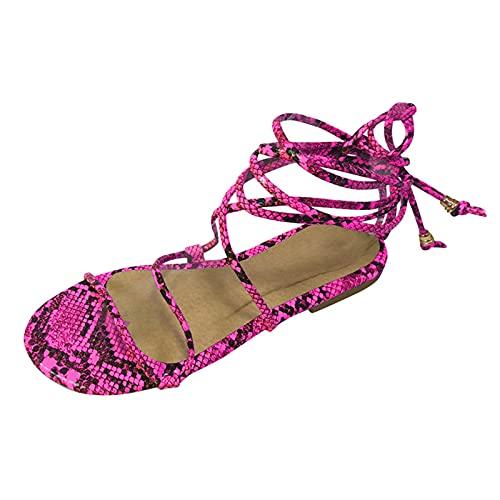KovBexJa 2021Sandalias Moda con Correa En El Tobillo Sandalias De Mujer Zapatos De PVC Sandalias De Mujer De Fondo Plano Zapatos De Mujer Rosa Rojo