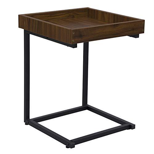 WOLTU Beistelltisch TS78dc Kaffeetisch Couchtisch Sofatisch Nachttisch Betttisch Laptoptisch, Gestell aus Metall, Tischpltte aus MDF, 40x40x52cm(BxTxH), Dunkelbuche