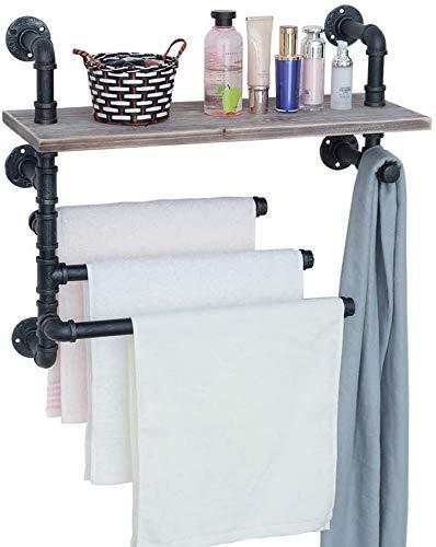 Toallero industrial con 3 barras de toalla, estantes de baño rústicos de 24 pulgadas montados en la pared, estante de madera de estantería de tubo negro de granja, estantes flotantes de metal Toalle