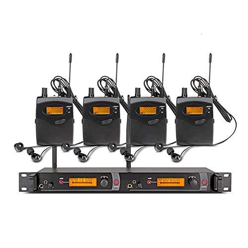 Zay Luay Sistema Inalámbrico de Monitor de Oído Estéreo UHF, Banda de Frecuencia Seleccionable 572-830MHz, Montable en Rack, 300 Ft. Operación, Ideal para Escenario, Estudio, exhibición, Conferencia,