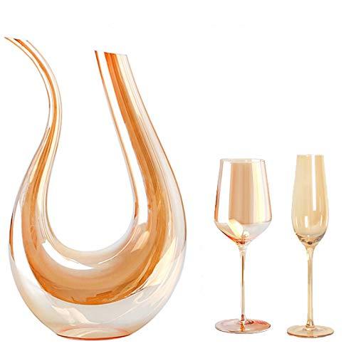 Decantador - Decantador de aireador de vino clásico en forma de U de 1500 ml, respirador de vino sin plomo soplado a mano, juego de regalo