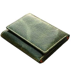 【日本製】 レザーミニ財布 手のひらサイズでコンパクト 男女兼用(グリーン)