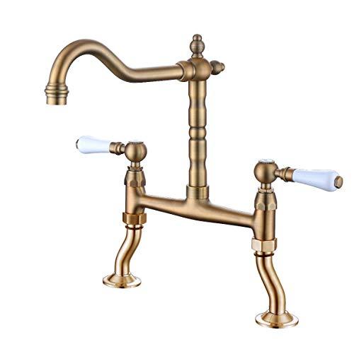 Zweigriffmischer Nostalgie Küchenarmatur Spültischarmatur Spülen Wasserhahn