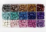 Perlas de Cera de Sellado, Speyang Cuentas de Cera Sellado, Granos de Cera para Sellar, Juego Sellos Cera, Kit de Lacre, Cera para Sellar Cartas de 15 Colores, Octagonal (Color Oscuro)
