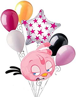 7 pc Pink Stella Angry Birds Balloon Bouquet Party Decoration Video Game Movie
