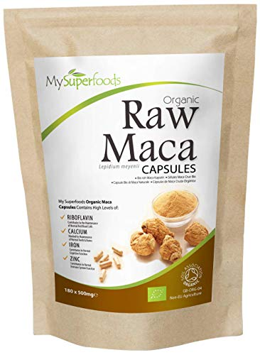Organic Maca Capsules (180 x 500mg), MySuperFoods, Packed with Healthy Nutrients, Ancient Health Food from Peru, Delicious Malty Flavour, Certified Organic